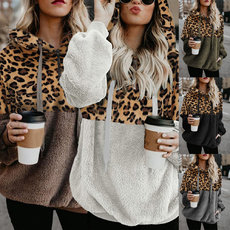 Leopard zipper pocket Plush jacket