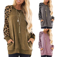 Leopard print long sleeve pocket jacket