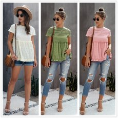 Fashion short sleeve wood ear pleated thin top T-shirt