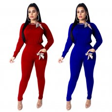 Solid color sports two piece set