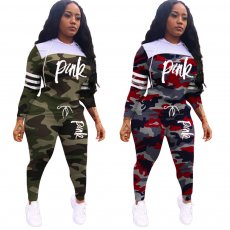 Fashion camouflage printed lettering two piece set
