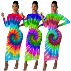 Colorful positioning print casual dress