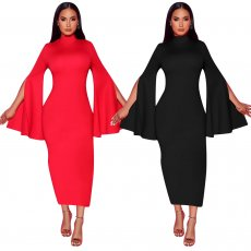 Pure color Irregular sleeve dress