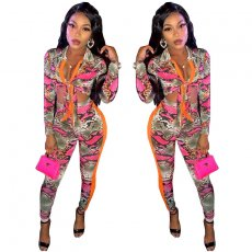 Fashion casual printing long sleeve suit