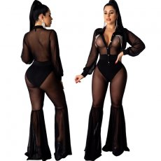 Mesh perspective drilling flare Jumpsuit