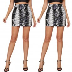 Sexy Snake Print PU leather skirt (zipper version)