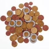 money coins. fake coins, plastic conins,
