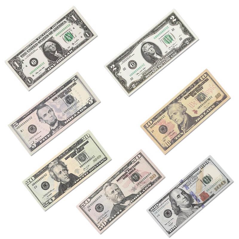Образовательный набор игровых денег Счета 1 / 2 / 5 / 10 / 20 / 50 / 100 для детских игр