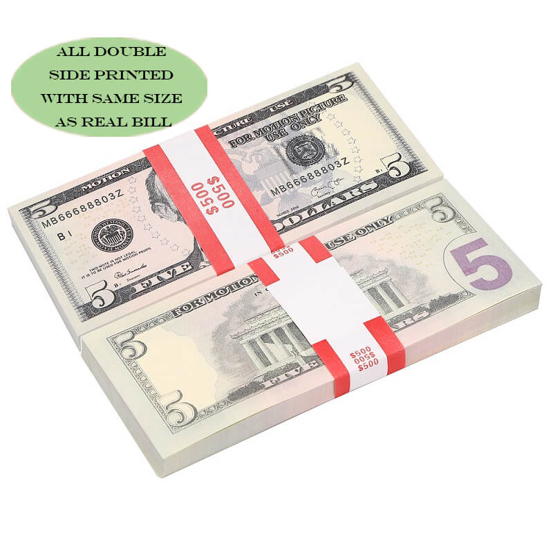 Most Realistic Prop Money, Movie Money & Play Money Fake Dollar $5