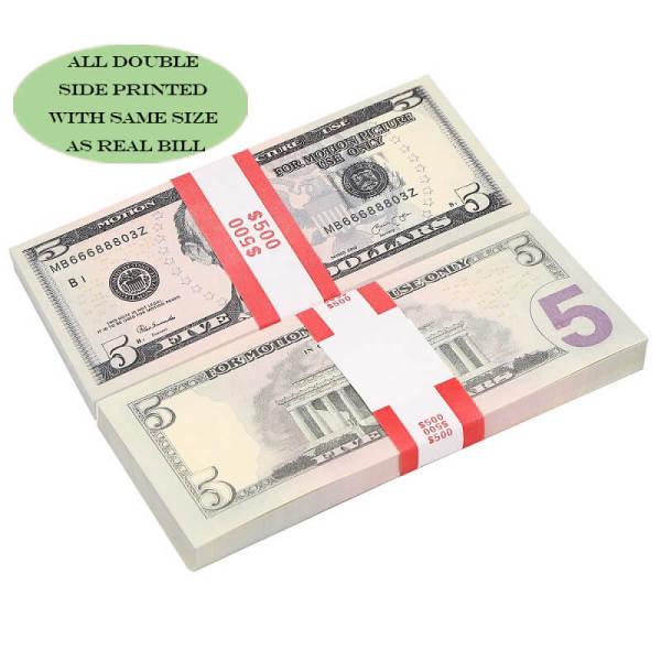 Most Realistic Prop Money, Movie Money & Play Money Fake Dollar $5