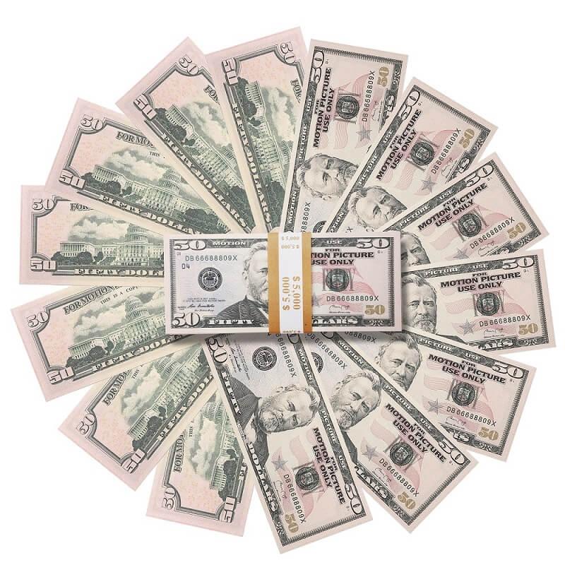 Долларовая банкнота 50 на продажу | Опора Фильм Деньги США 50 Доллары Полная Печать
