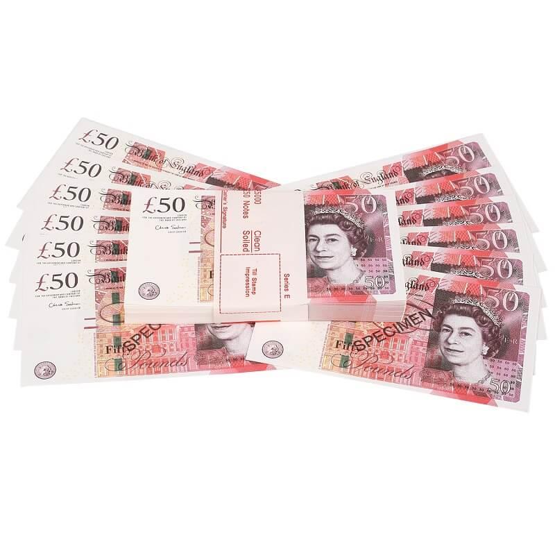 100 × £ 50 UK Опора Деньги | Поддельные реплики заметки | 50 фунтов кино деньги маленький размер 75%