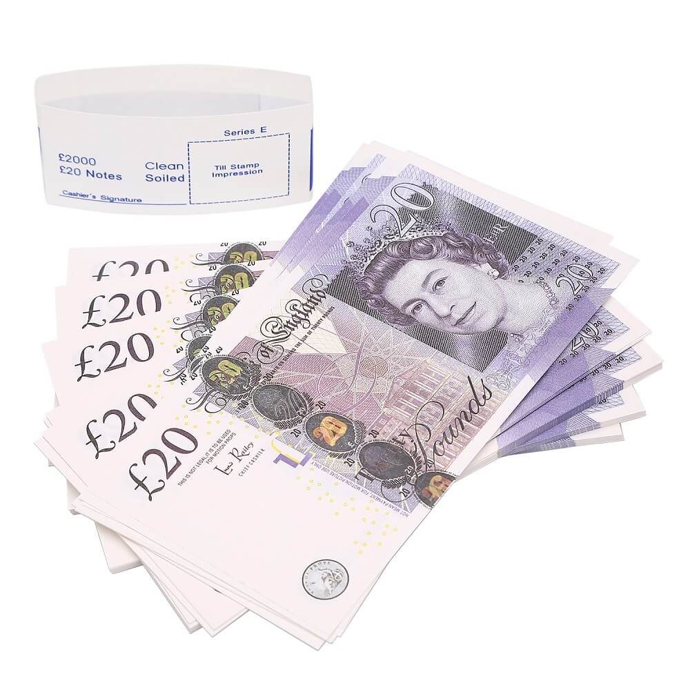 Fake British Pounds For Sale|Prop Money UK Pounds GBP Bank 20 Notes