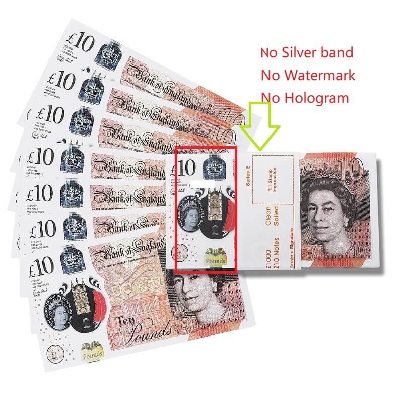100 × £ 10 Опора Деньги Великобритания Фунты | GBP Bank £ 10 Британские фунты | Фильмы Play Fake Casino