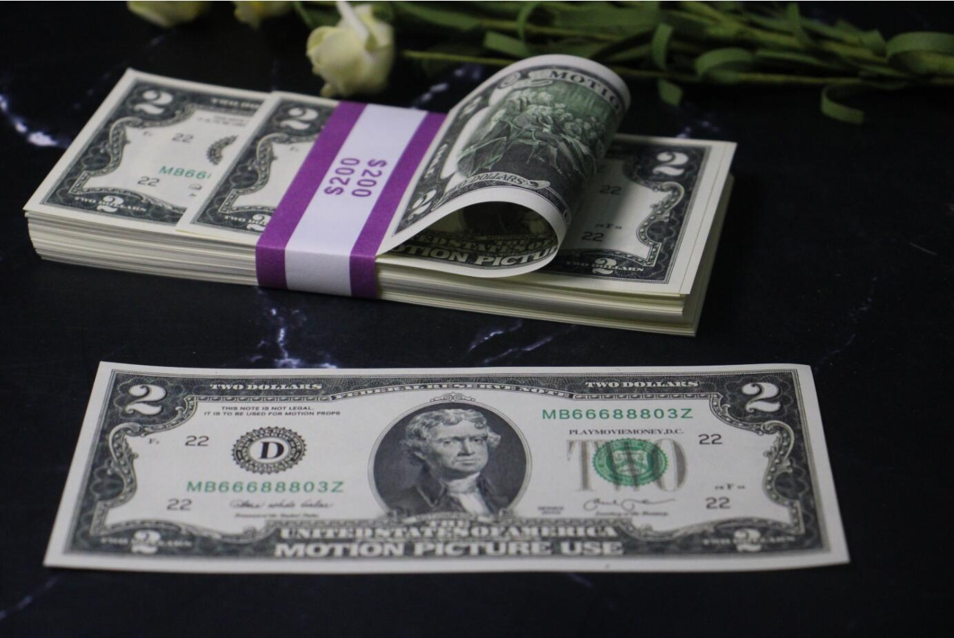 Play money $2 prop money Replica copy banknote 100pcs/pack