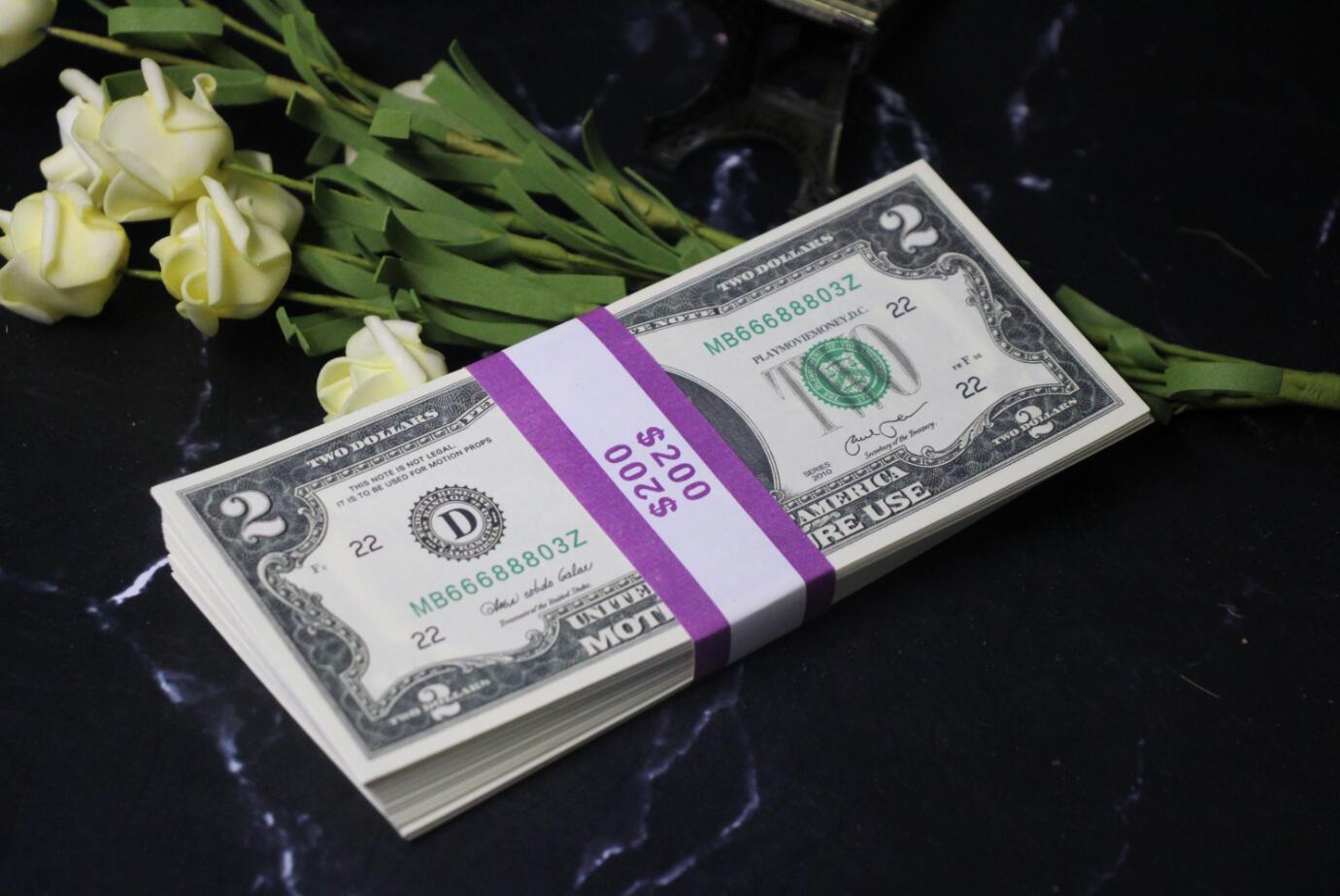 Игровые деньги $ 2 реквизиты Копия денег Копия банкноты 100шт / уп