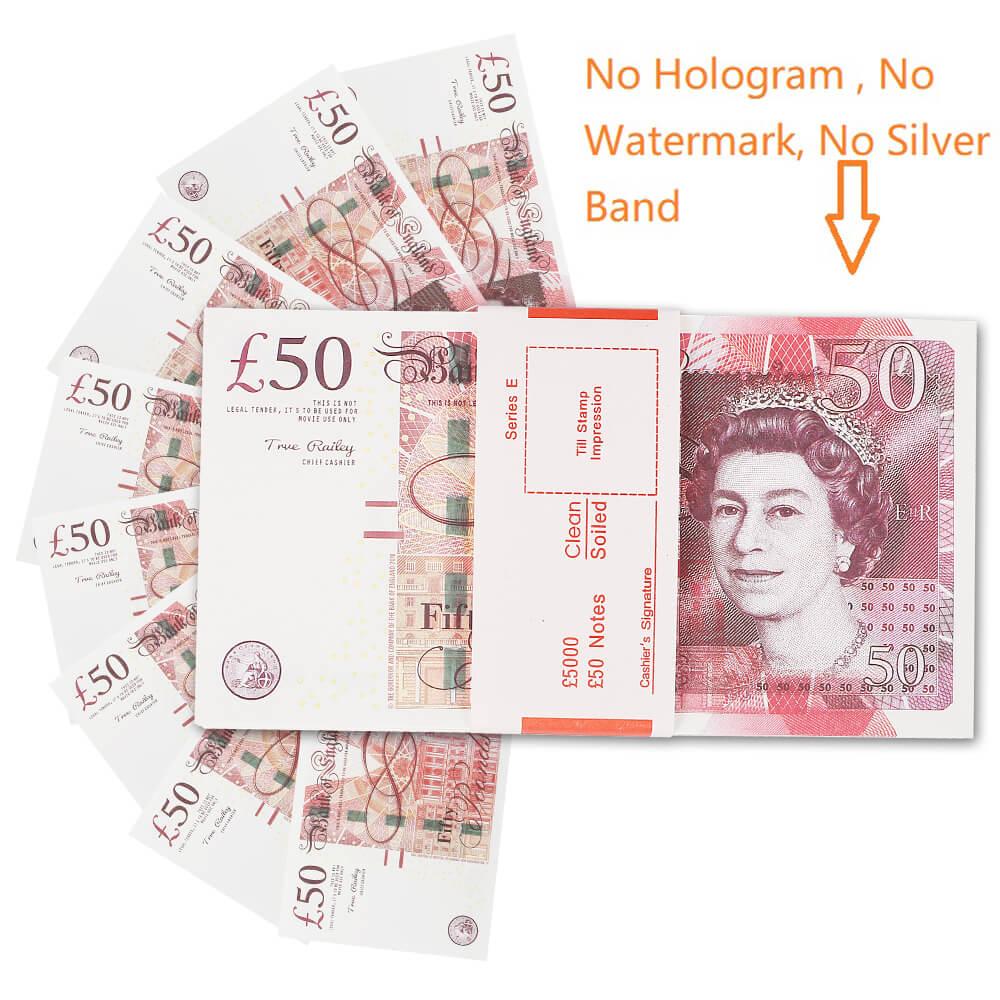 ПРОП ДЕНЬГИ | UK PROP MONEY | UK POUNDS GBP BANK 100 50 ПРИМЕЧАНИЯ Extra Bank Strap - Фильмы играют в поддельные казино размером 1: 1