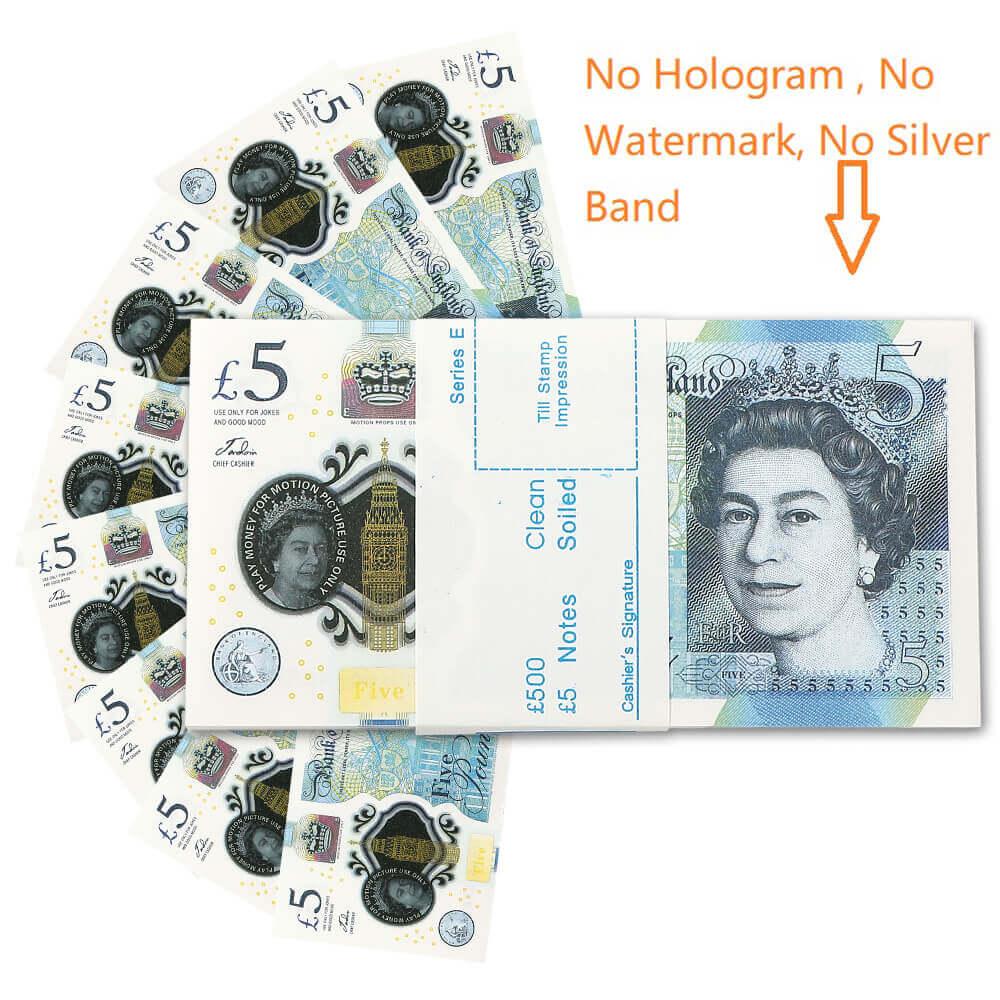 ПРОП ДЕНЬГИ | UK PROP MONEY | UK POUNDS GBP BANK 100 5 ПРИМЕЧАНИЯ Extra Bank Strap - Фильмы играют в поддельные казино размером 1: 1