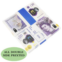 NEW EDITION PROP MONEY UK 20 GBP POUNDS  REALISTIC MONEY FAKE POUNDS NOVELTY PRETEND COUNTING LEARNING REPRODUCTION 100PCS