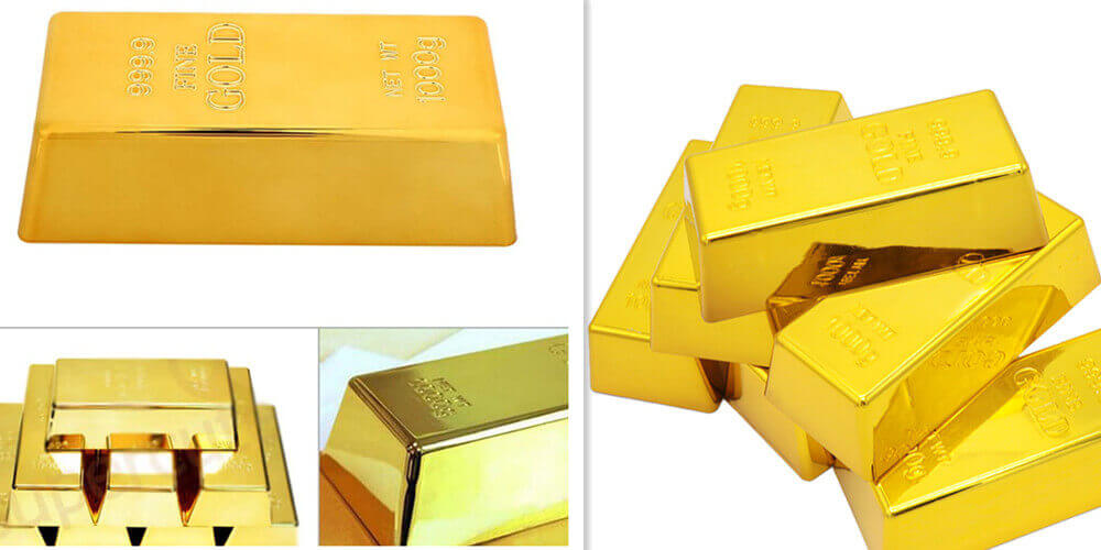 Gold Bullion Door Stopper,Fake Gold Bar Paperweight Gold Doorstop Door Wedge for Home Office Decoration