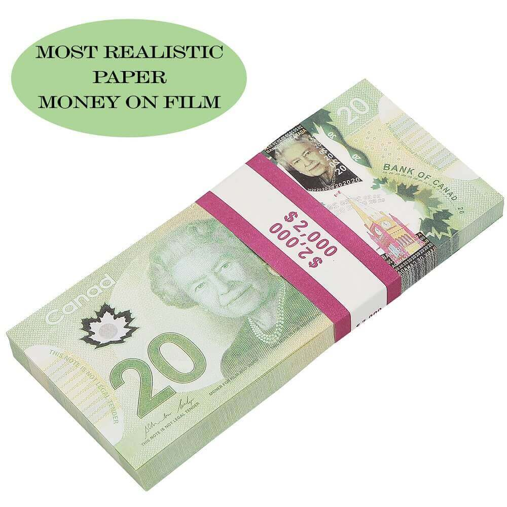 Prop Canadian Money 20s |CANADIAN DOLLAR CAD BANKNOTES PAPER PLAY MONEY MOVIE PROPS