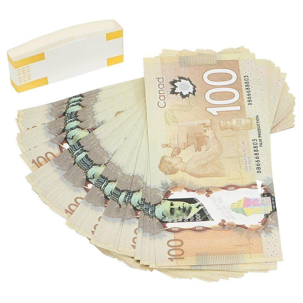 Prop Canadian Money 100s |CANADIAN DOLLAR CAD BANKNOTES PAPER PLAY MONEY MOVIE PROPS
