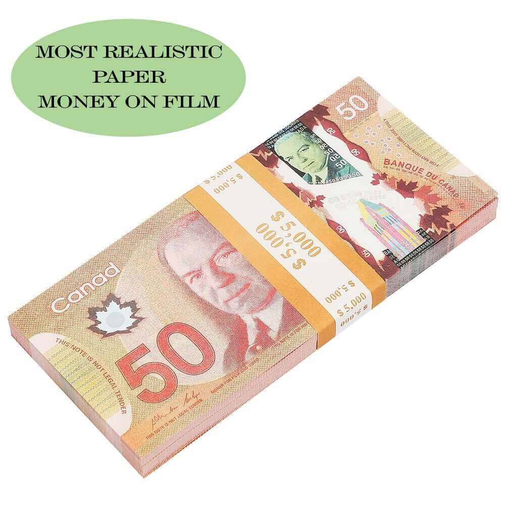 Prop money Canadian Dollar | Realistic Canadian 50S dollar| Cad Banknotes Paper Play Money Movie Props