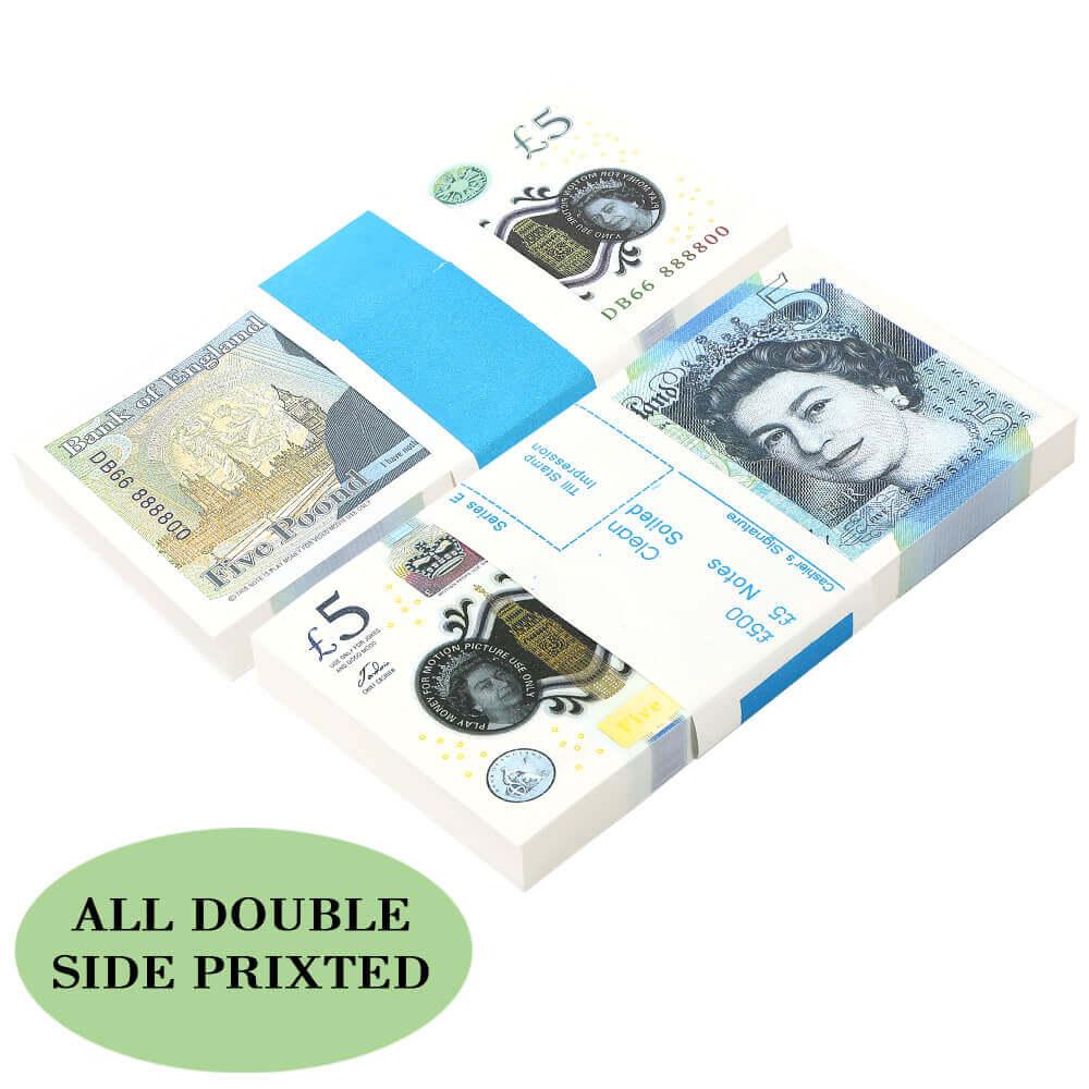 PROP MONEY | UK PROP MONEY | UK POUNDS GBP BANK 100 5 NOTES Extra Bank Strap - Movies Play Fake Casino 1:1 Size