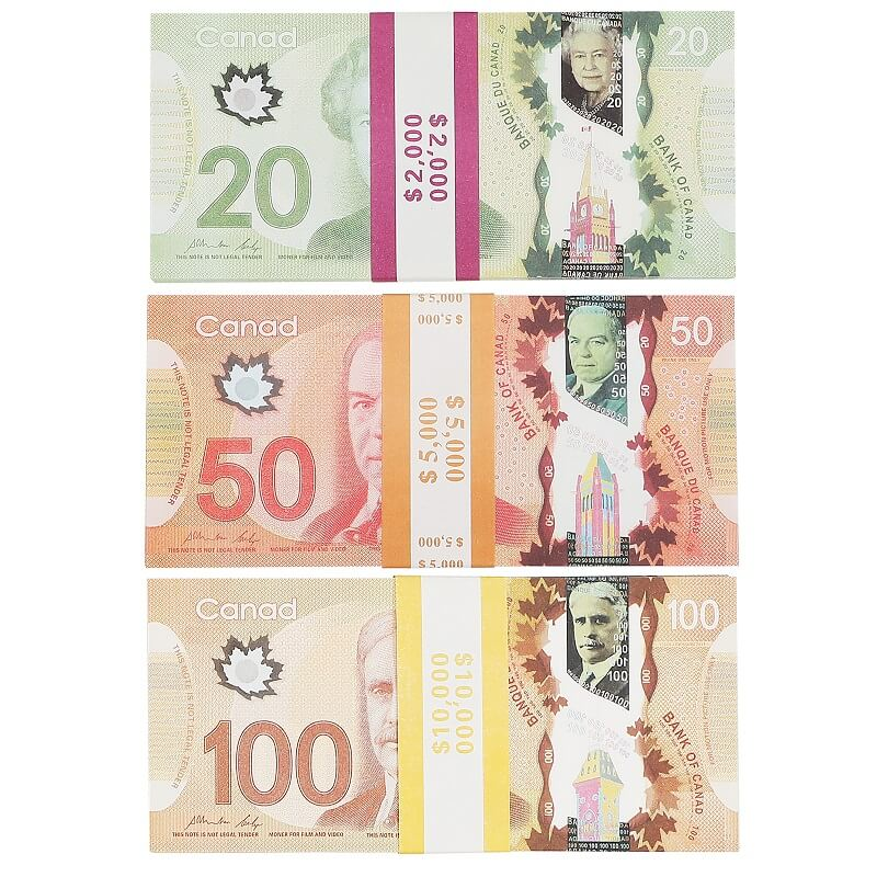 Prop Canadian Money |5/10/20/50/100 |CANADIAN DOLLAR CAD BANKNOTES PAPER PLAY MONEY MOVIE PROPS