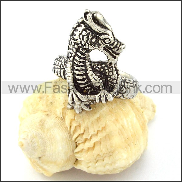 Stainless Steel Cute Little Dragon Ring r000644