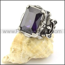 Stainless Steel Square Facted Blue Stone Ring   r000728