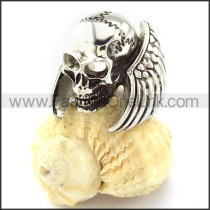 Stainless Steel Skull Ring with Wings r000859
