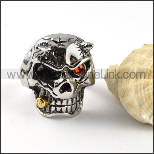 Stainless Steel Different Eyes Color Bullet Skull Rings r000364