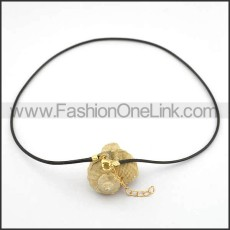 Black Leather Necklace n001030