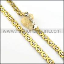 Succinct Golden  Plated Necklace      n000169