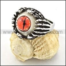 Stainless Steel Prong Setting Orange Eye Ring r000529