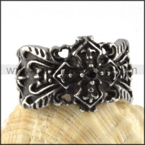 Black French Stainless Steel Cross Ring r000087