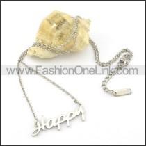 Silver HAPPY  Fashion Necklac   n000464