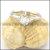 Graceful Stainless Steel Stone Ring r002077
