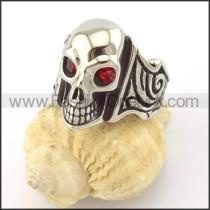 Red Zircon Eyes Skull Ring r001166