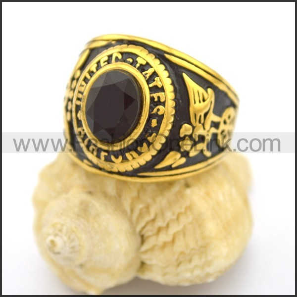 Vintage Stone Stainless Steel Ring r002696