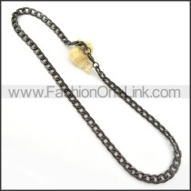 Succinct Black Plated Necklace      n000244