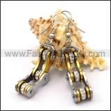 Silver and Gold Biker Earrings    e001067