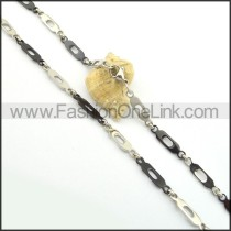 Decorous Black and Silver Plated Necklace n000830