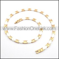 Rose Golden and White Interlocking Necklace n000889