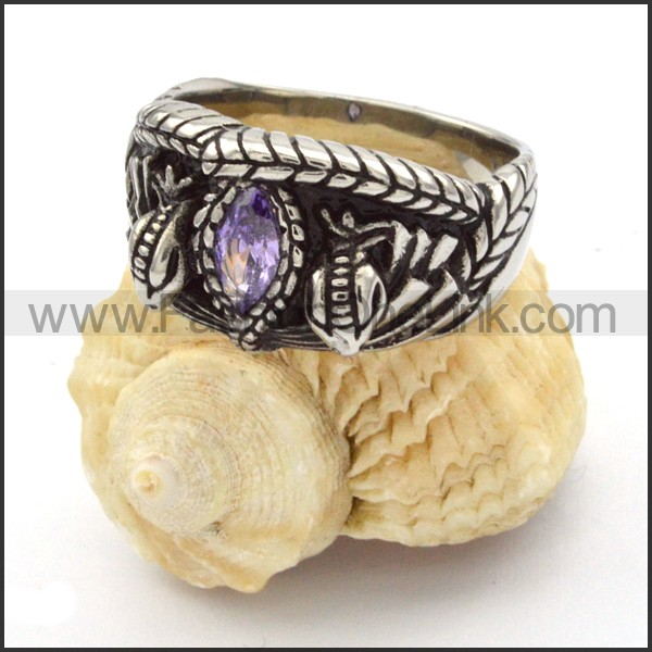 Stainless Steel Vintage Stone Ring r000333