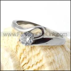 316 Stainless Steel Unique Zircon Stone Ring r000027