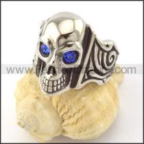 Blue Zircon Eyes Skull Ring r001165