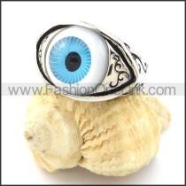 Blue Eye of Angel Stainless Steel Ring r000919