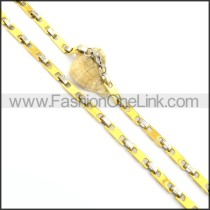 Interlocking Two Tone Plated Necklace n000800